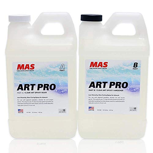 MAS Art Pro Epoxy Resin & Hardener   Two Part Art Resin Features UV Inhibition, Longer Working Time, Special Formulation for Resin Art   Professional Grade Crystal Clear Epoxy Resin (1 Gallon)