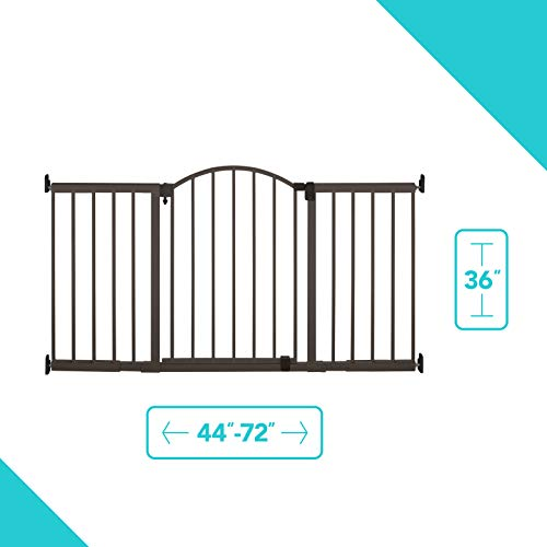 "Summer Metal Expansion 6-Foot-Wide Extra Tall Walk-Thru Baby Gate, Bronze Finish – 36"" Tall, Fits Openings of 44"" to 72"" Wide, Baby and Pet Gate for Extra Wide Doorways"