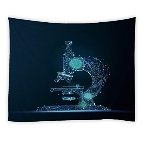 RAYLONZE Creative Microscope Tapestry Technology and Science Plexus Dynamic Digital Blue Lines and Dots Wall Hanging Futuristic Home Decor Tapestries Bedroom Dorm Living Room Navy Blue 80x60 Inch