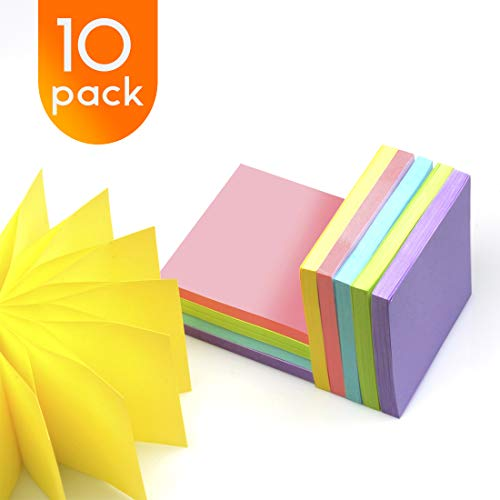 Pop Up Sticky Notes 10 Pads/Pack Self Stick Notes 3x3 Inch 5 Bright Colors, 72 Sheets/Pad