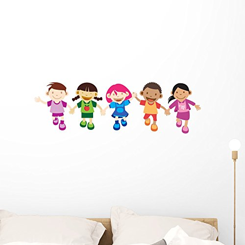 Wallmonkeys Multi Culture Kids Playing Wall Decal Peel and Stick Educational Graphics (36 in W x 11 in H) WM221225