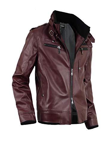 レザージャケット メンズ 革ジャン ライダースジャケット ライダースブルゾン 合成皮革 916500A ワイン M