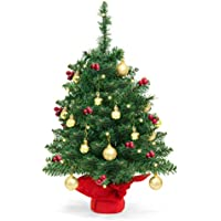 BCP 22 Inch Tabletop Christmas Tree with Lights, Berries, Ornaments