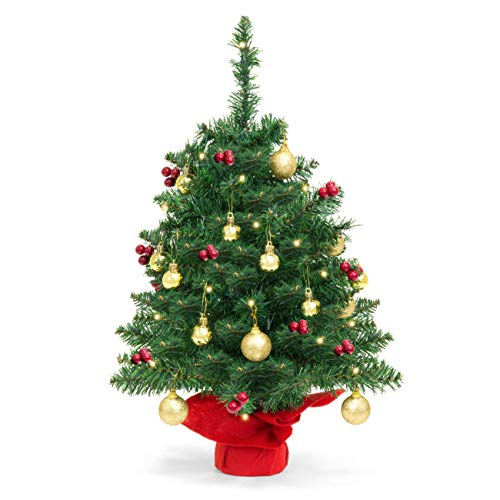 Battery Operated Tabletop Christmas Tree with Lights and Gold Ornaments