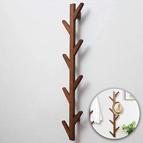 MyGift 14 Hook Burnt Brown Wood Wall Mounted Expandable Accordion Peg Coat and Hat Hanger Rack