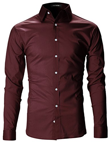FLATSEVEN Mens Slim Fit Basic Dress Shirts Long Sleeve (SH400) Wine, US M/Asia XL