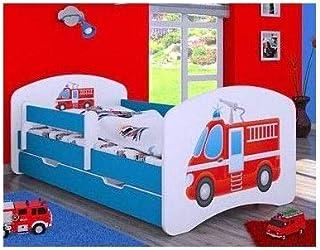 naka24 Kinderbett mit Matratze und Bettkasten für Jungen 160x80 cm, Feuerwehr