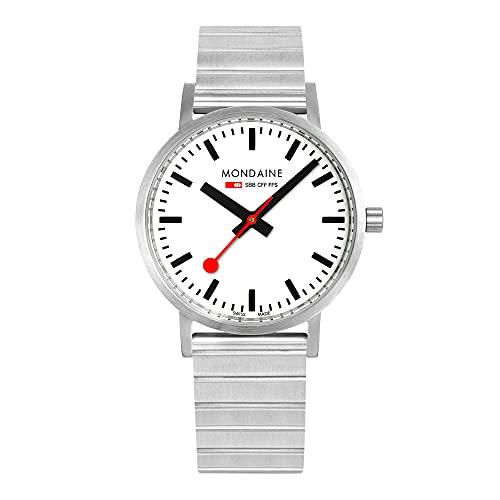 MONDAINE Movimiento de cuarzo clásico esfera blanca reloj de pulsera de acero inoxidable A660.30360.16SBJ