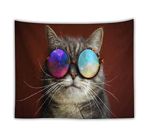 ZXBFJK Tapestry Wall Hanging,Hippie Psychedelic Large Rectangular Print Fabric Tapestries,3D Printed Cute Animal Sunglasses Cat,Indian Art Print Mural,for Bedroom Living Room Dorm Home Decor