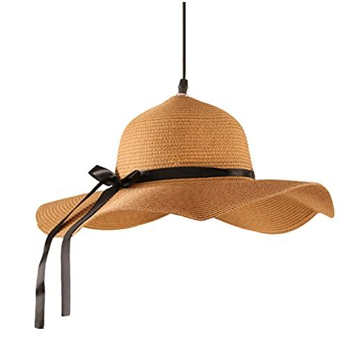 OSALADI Di Bambù Lampadari Creativo Forma Del Cappello di Paglia Luce di Soffitto Stile Pastorale di Vimini Rattan Paralumi Tessuto Appeso Luce Lampadario Lampada da Soffitto per La
