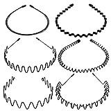 Tagaremuser 6 STÜCKE Metall Haarband Schwarz Spring Wave Haarband Multi-Style Unisex Flexible Stirnband Zubehör für Frauen Männer (Style A)