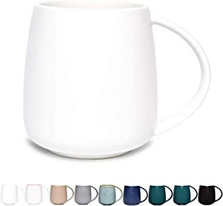 Bosmarlin Matte Ceramic Coffee Mug, Tea Cup for Office and Home, 13 oz, Dishwasher and Microwave Safe, 1 Pack (Pure White)