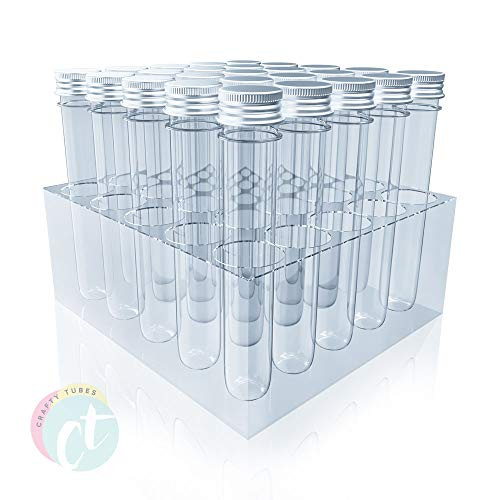 Extra Long Clear PET Plastic Test Tubes Beaker Set w Thin Rack Holder 32 Blank Labels 25 Pieces 25 x 165mm (60ml) - Beads, Candy, Craft Storage Organization, Wedding Party Favor - by Crafty Tubes