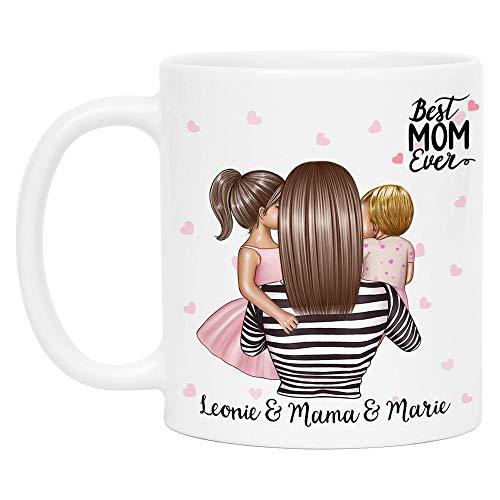 Kiddle-Design Mutter Kind Tasse Personalisiert Name und Frisur Mama Kinder Tochter Töchter Baby Geschenk Kaffeetasse für Mütter Muttertag Geschenk