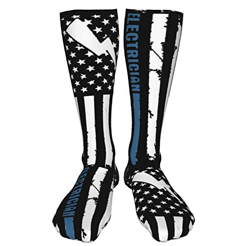 Product Image 3: Crew Socks Calf Socks Electrician With American Flag Casual Athletic Warm Thick Moisture Wicking Breathable for Men Sock