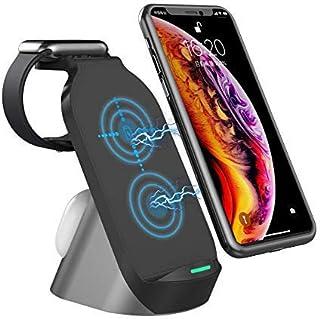 شاحن لاسلكي من Ausear ، مناسب لهاتف iPhone 11/11pro/11pro Max/X/XS/XR/Xs Max، سلسلة ساعات Apple المرخصة 3 في 1 قاعدة شحن ل...