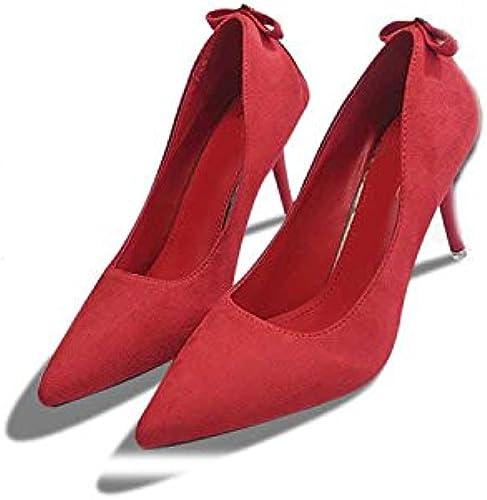 Wanson Tacones Altos De PU De La PU del Ante del Bowknot Elegante De La Moda Puntiagudo Tacón De Aguja zapatos Nupciales De La Boda Bombas Talón rojo Altura 8 Cm,L