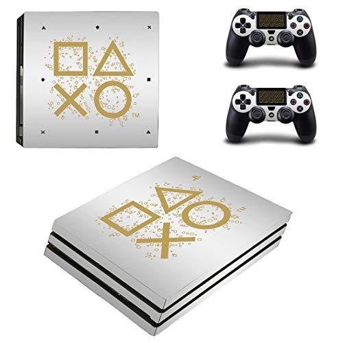 PS4 Pro Playstation Logo Gold Konsole Skin, Decal, Vinyl, Aufkleber, Faceplate - Konsole und 2 Controller - Schutzhülle für PlayStation 4 PRO