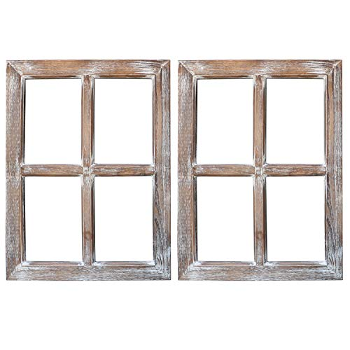 Barnyard Designs Rustic Barn Wood Window Frames, Decorative Country Farmhouse Home Wall Decor, Wooden Window Pane for Living Room, Bedroom, or Fireplace Mantel, 61cm x 45.50cm, (2 Pack)