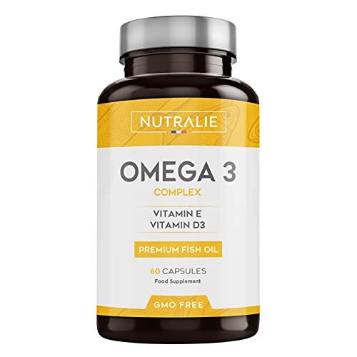 Omega 3 Olio di Pesce Premium | 900 mg EPA e 350 mg DHA per dose | 60 Capsule ad Alta Concentrazione di Vitamine E e D3 | Prodotto da Nutralie