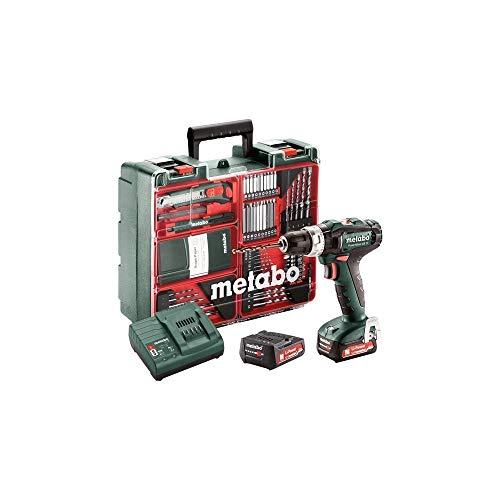 Metabo 601076870 601076870-Taladro percutor a bateria 12V / 2X 2,0 Ah Li-Ion PowerMaxx SB 12 Mobile Workshop con maletín, 12 V, Negro, Gris, Rojo