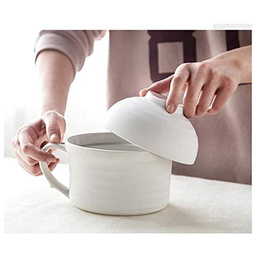 CJW Couvercle créatif européen Macarons - grandes nouilles instantanées en céramique avec couvercle. (Color : Blanc)