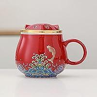 LKJJ 注入器と蓋付きのティーカップ ふた付きオフィスティーカップフィルターティー飲用カップマグカップ家庭用飲用カップ-スタイルB