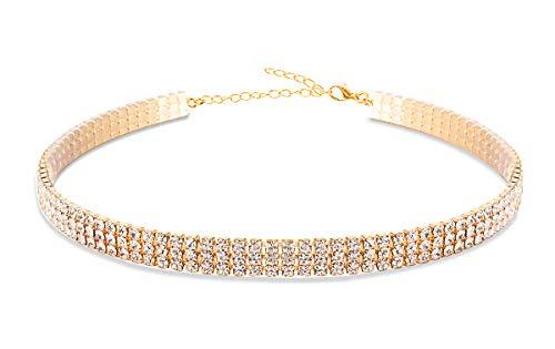 EFTOM Gold 3 Rows Crystal Diamond Choker Necklace Adjustable Rhinestone Chokers for Women