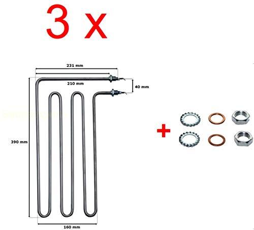 Für Weka 3 x Rohrheizkörper Heizstab 3 kw für Saunaofen Klassik Bio Aktiv Kompakt SHG
