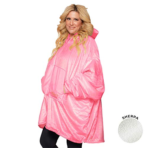 THE COMFY Original | Oversized Microfiber \& Sherpa Wearable Blanket, Seen On Shark Tank, One Size Fits All Pink