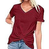 Sudadera para mujer con cuello en V y dobladillo con bolsillo para doblar y manga corta Rojo rojo vino S