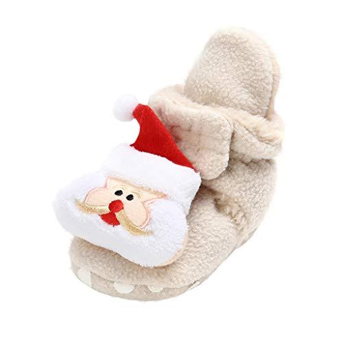 WEXCV Unisex Baby Jungen Mädchen Weihnachten Schuhe Winter Winddicht Warm Weihnachtsdekoration Stiefel Kinder Lauflernschuhe Anti-Rutsch-Weiche Freizeitschuhe für 0-18 Monate