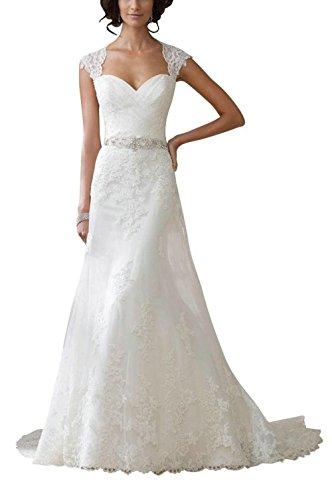 JAEDEN Brautkleid Hochzeitskleider Lang Spitzenkleid Damen Elegant Rückenfrei mit Schleppe