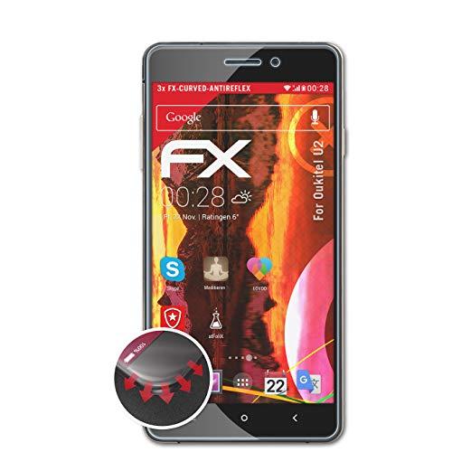 atFolix Schutzfolie kompatibel mit Oukitel U2 Folie, entspiegelnde & Flexible FX Bildschirmschutzfolie (3X)
