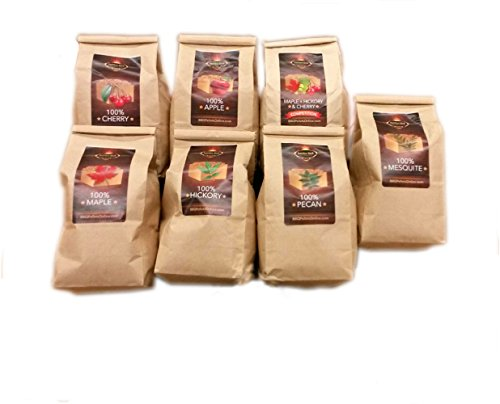 Lumber Jack BBQ 7 varieties BBQ Pellet Pack - 1 Pound Bags - 100 Percent (Apple, Cherry, Pecan, Hickory, Maple-Hickory-Cherry, Mesquite and Maple) - 2Day Shipping