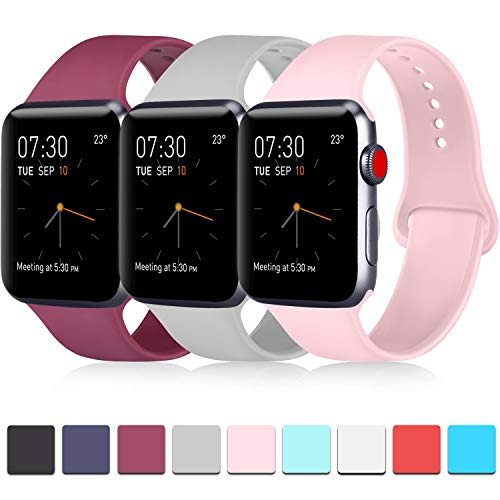 Pack 3 Compatible with Apple Watch Band 42mm for Men, Soft Silicone Band Compatible iWatch Series 4, Series 3, Series 2, Series 1 (Wine Red/Gray/Pink, 42mm/44mm-M/L)
