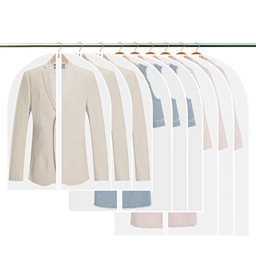 Fundas de ropa,Tintec Juego de 9 fundas de ropa transpirables,bolsas de ropa a prueba de polvo,con cremallera completa y agujero superior para gancho de percha
