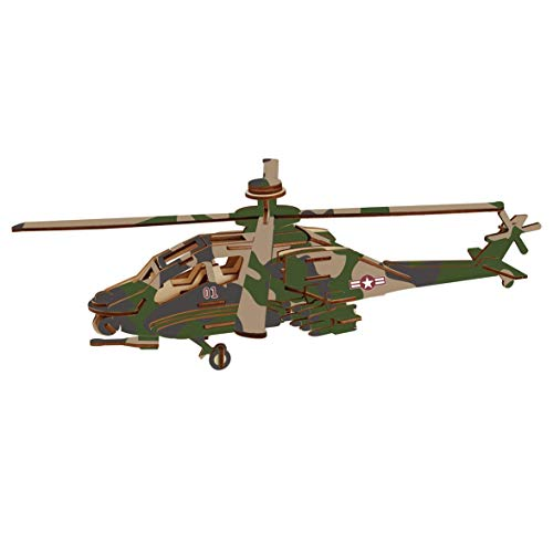 3D DIY Apache Helicopter Wood Model Laser Cut Construction Jigsaw Puzzle Assembly Kit Handmade Educational Woodcraft Helicopter Plane Toy Kits Set for Kids Teens and Adults