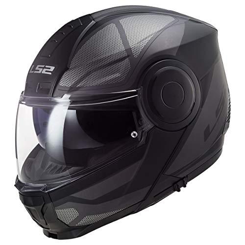 LS2 Helmets Horizon Axis Modular Helmet W/SunShield (Black Titanium - X-Large)