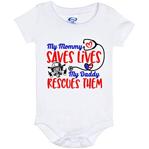 Mom Saves Lives Dad Rescues Nurse Mom Firefighter Dad Bodysuit Toddler Outfit Infant Newborn Cloth