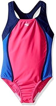 Speedo Girl's Swimsuit One Piece Mesh Splice Thick Strap (various sizes)