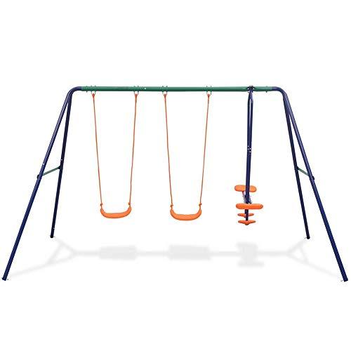 Autoshoppingcenter Columpio Infantil para 4 Niños Centro de Juego para Jardín Exterior e Interior, 324 x 155 x 182 cm [EU Stock]