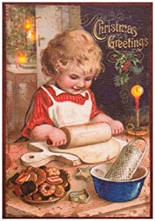 Radiance LED Lighted Canvas Print Old Time Postcard Christmas Cookie Girl Country Primitive Holiday Décor