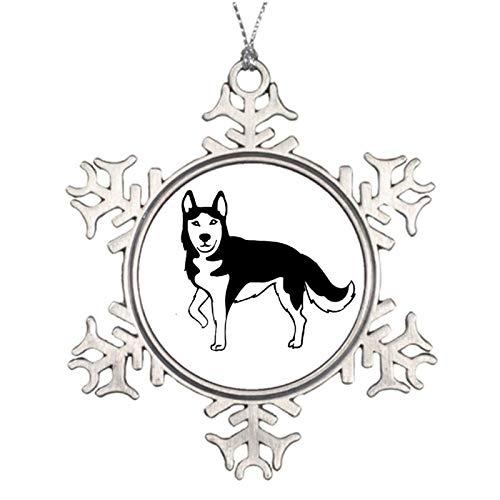 qidushop Weihnachtsdekoration, schwarzer Husky, Weihnachtsschmuck, Metall, Schneeflocke, zum Aufhängen, Andenken, 7,6 cm