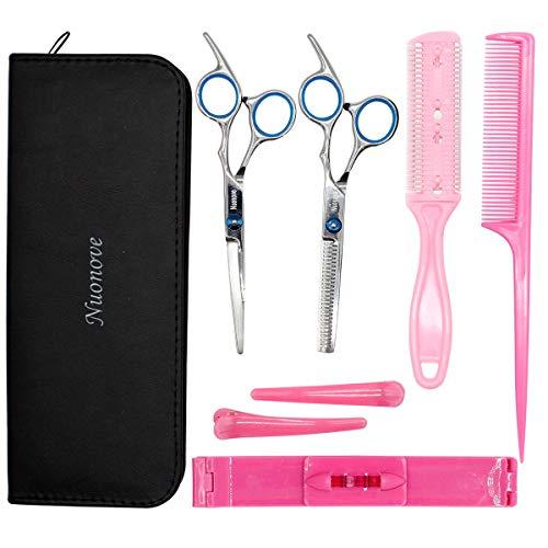 Friseurschere Set Haarschere Set Profil, 8-er Haarschneideschere Set mit Effilierschere und Modelierschere für den Hausgebrauch mit Kamm und Fall Perfekter Haarschnitt für Damen und Herren (6 Zoll)