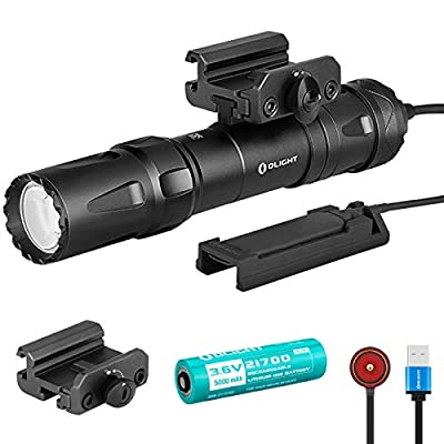SKYBEN Olight Odin 2000 Lumens 300 Meters Magnetic Rechargeable Picatinny Mount 21700 Tactical Flashlight with Removable Slide Rail Mount and Remote Switch, Battery Case Included(Black)