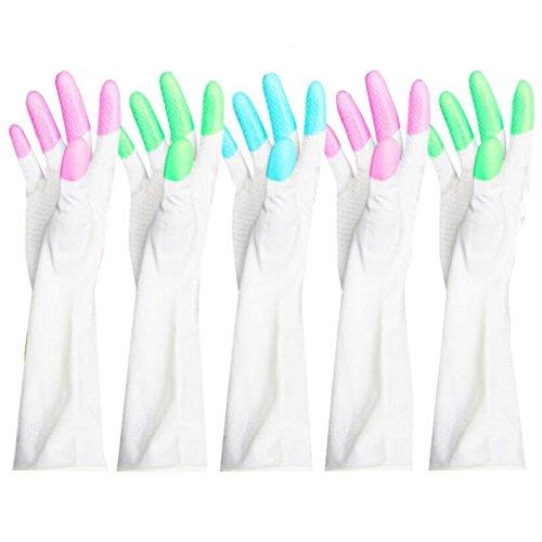 5 paires vaisselles Gants imperméables Gants de nettoyage couleur aléatoire