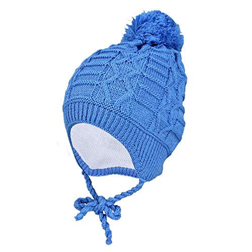 TupTam Baby Winter Mütze Strickmütze zum Binden, Farbe: Blau, Größe: 36-38