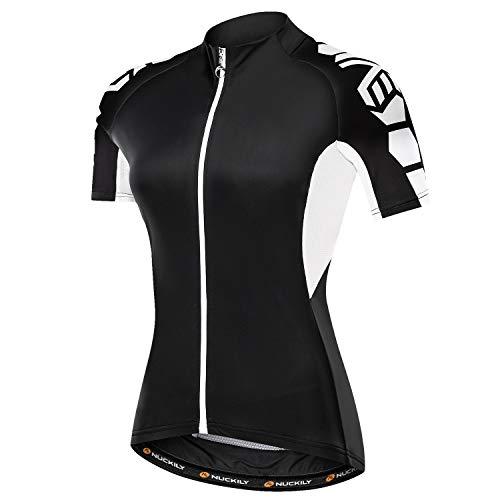 NUCKILY Radtrikot Bike Shirt Schwarz und Weiß Angel Damen Breathable Bicycle Top