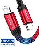 JSAUX USB C auf Lightning Kabel 1.8M, Apple MFi-Zertifiziert, für iPhone 11 Pro/ 11 Pro Max/ 11/ X/XS/XR/XS Max / 8/8 Plus, für Typ-C Ladegeräte, Unterstützt Power Delivery - Rot